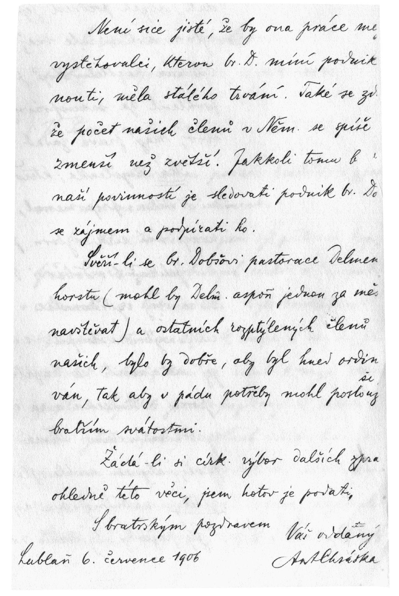 Del rokopisa Chráskovega pisma, 1906